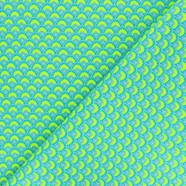 Petit Pan cotton fabric - blue Wasabi x 10cm