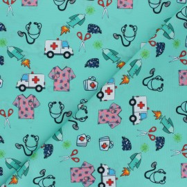 Polyester mask fabric - aqua green Allo docteur x 10cm