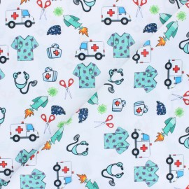 Polyester mask fabric - white Allo docteur x 10cm