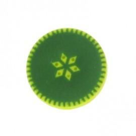 Bouton rond à rosace vert