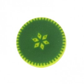 Button, rounded-shaped, roses - green
