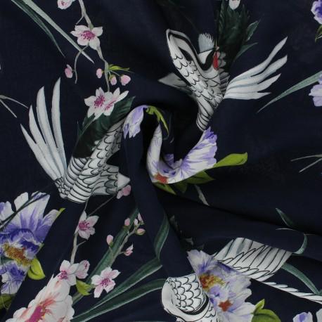 Viscose Fabric - navy blue Grue blanche x 10cm