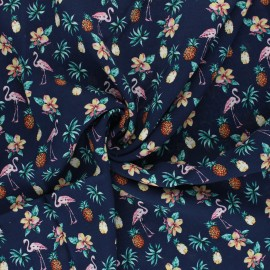 Viscose Fabric - navy blue Ananas and flamingo x 10cm