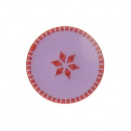 Button, rounded-shaped, roses - mauve