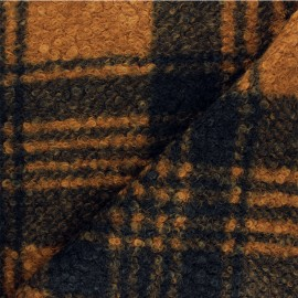 Checked curly wool fabric - caramel Scott x 10 cm