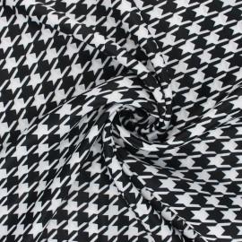 Tissu satin polyester Pied-de-poule - noir/blanc x 10cm