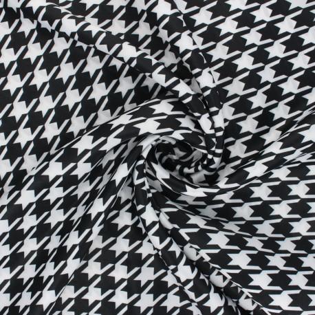 Print polyester satin fabric - black/white Pied-de-poule x 10cm