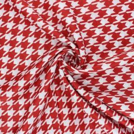 Tissu satin polyester Pied-de-poule - rouge/blanc x 10cm