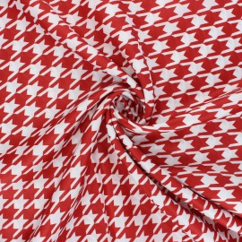 Print polyester satin fabric - red/white Pied-de-poule x 10cm