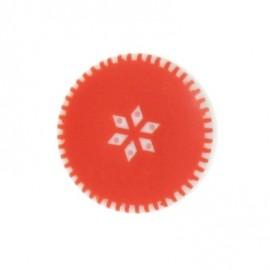 Button, rounded-shaped, roses - orange