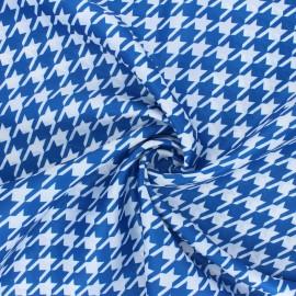 Tissu satin polyester Pied-de-poule - bleu/blanc x 10cm
