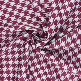 Tissu satin polyester Pied-de-poule - lie de vin/blanc x 10cm