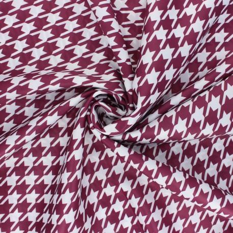 Print polyester satin fabric - purple red/white Pied-de-poule x 10cm