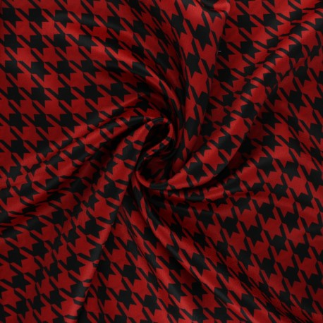 Print polyester satin fabric - red/black Pied-de-poule x 10cm