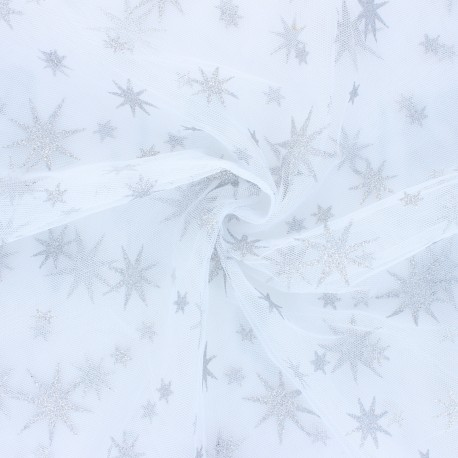 Tissu tulle étoile pailleté Magic - blanc/argent x 10cm
