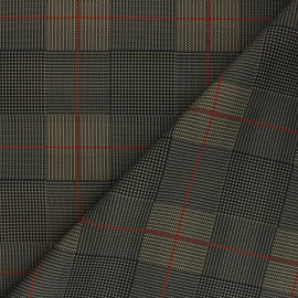 Milano jersey fabric - sand Checked x 10cm