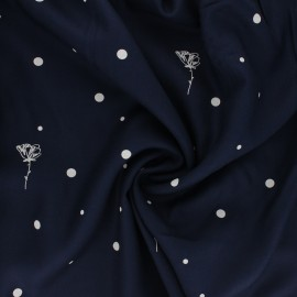 Viscose twill fabric - navy blue Polk Poppies x 10cm