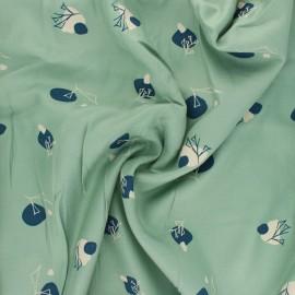 Tissu sergé de viscose Stone - vert amande x 10cm