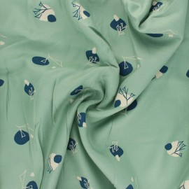 Viscose twill fabric - almond green Stone x 10cm