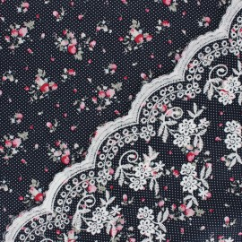 Scalloped embroidered cotton fabric - navy blue Brianna x 10 cm