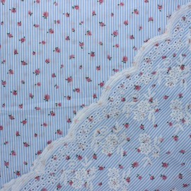 Scalloped embroidered cotton fabric - blue Anna x 10 cm