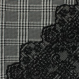 Scalloped Jacquard fabric - black Peyton x 10cm