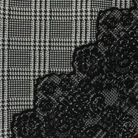 Scalloped Jacquard fabric - black Peyton x 10cm