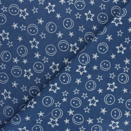 Tissu Jeans fluide Smile - Bleu x 10cm