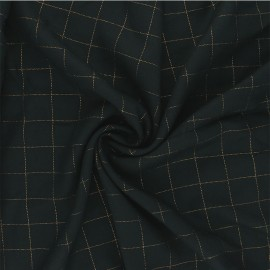 Checked viscose twill fabric - dark green/gold Lurex x 10cm
