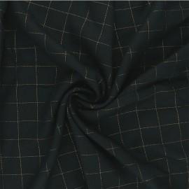 Tissu sergé de viscose Carreaux Lurex Doré - vert foncé x 10cm