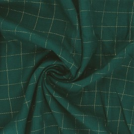 Checked viscose twill fabric - meadow green/gold Lurex x 10cm
