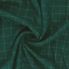 Tissu sergé de viscose Carreaux Lurex Doré - vert prairie x 10cm
