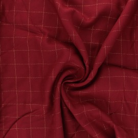 Checked viscose twill fabric - red/gold Lurex x 10cm