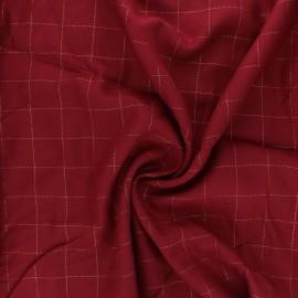 Tissu sergé de viscose Carreaux Lurex Doré - rouge x 10cm