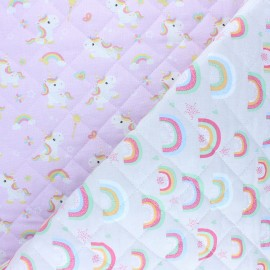 Quilted cotton fabric - pink Calissa/ Adibou x 10cm