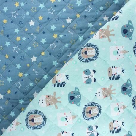 Quilted cotton fabric - aqua Polisson/ Celeste x 10cm