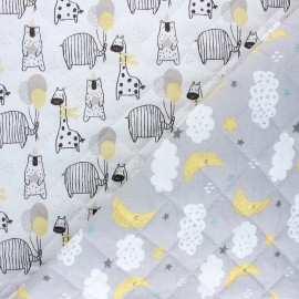 Tissu matelassé Réversible Fiesta/ Luna - blanc x 10cm