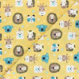 Tissu coton cretonne Polisson - jaune x 10cm