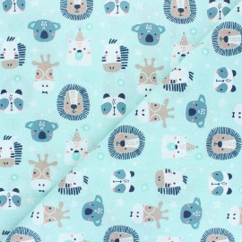 Cretonne cotton fabric - aqua Polisson x 10cm