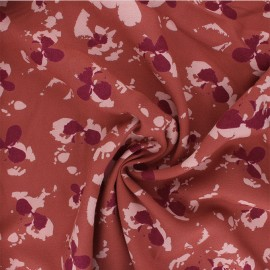 Viscose crepe fabric - terracotta Clovers x 10cm
