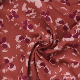 Viscose crepe fabric - terracotta Clovers x 10cm