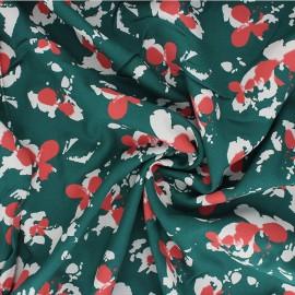 Tissu crêpe de viscose Clovers - vert émeraude x 10cm