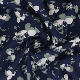Viscose crepe fabric - navy blue Clovers x 10cm