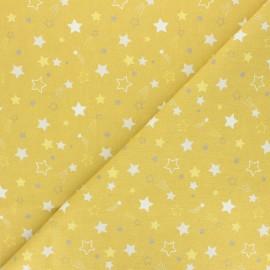 Tissu coton cretonne Celeste - jaune moutarde x 10cm
