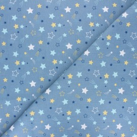 Tissu coton cretonne Celeste - bleu x 10cm