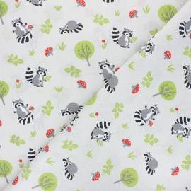 Cretonne cotton fabric - pearl grey Raccoon x 10cm