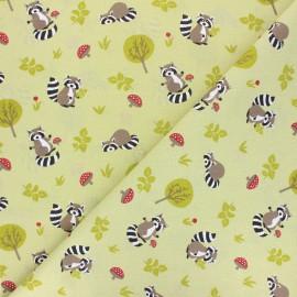 Cretonne cotton fabric - green Raccoon x 10cm
