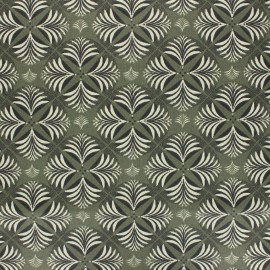 Coated cretonne cotton fabric - khaki green Coumba x 10cm