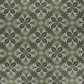 Tissu coton cretonne enduit Coumba - vert kaki x 10cm
