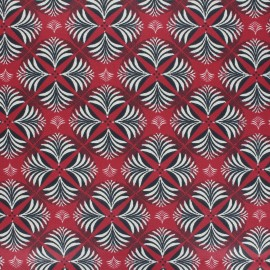 Coated cretonne cotton fabric - red Coumba x 10cm